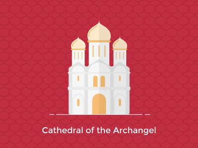 Cathedral of the Archangel, Moscow color line building russia moscow vector ux ui design flat icon city