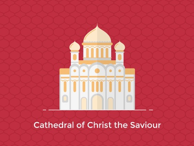 Cathedral of Christ the Saviour, Moscow color line building russia moscow vector ux ui design flat icon city