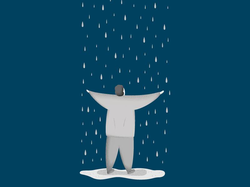 Under the rain man sky rain blue illustration