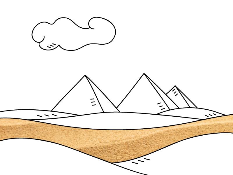 Illustration line cloud landscape picture sand illo illustration