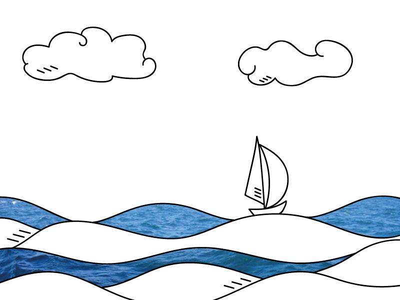 Illustration boat sea draw color landscape design view art illustration