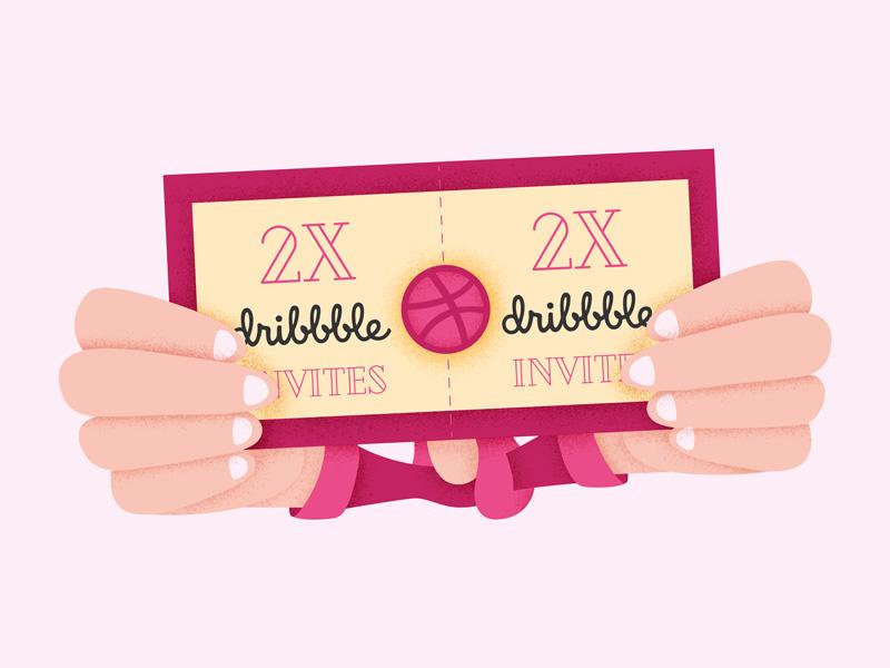 2 Dribbble Invites color ticket design illo illustration invitation invite
