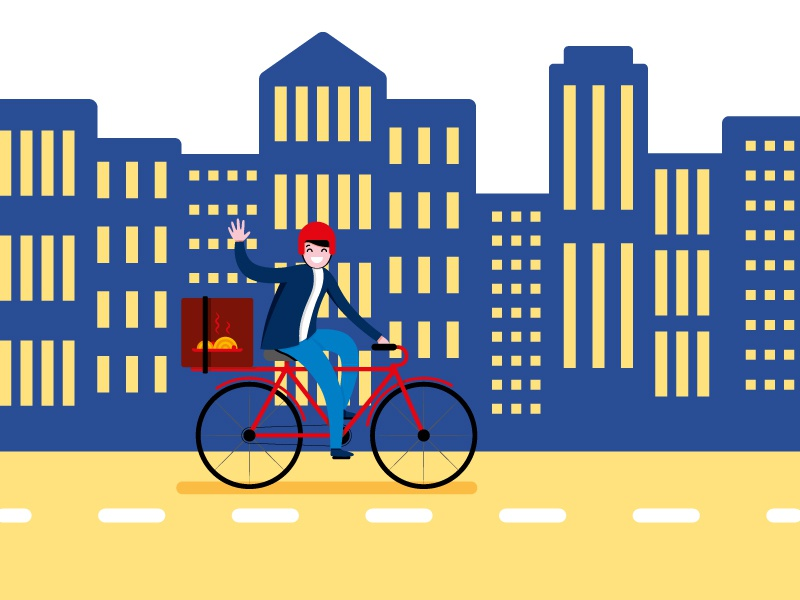 Delivery food illustration illo color city design flat food delivery
