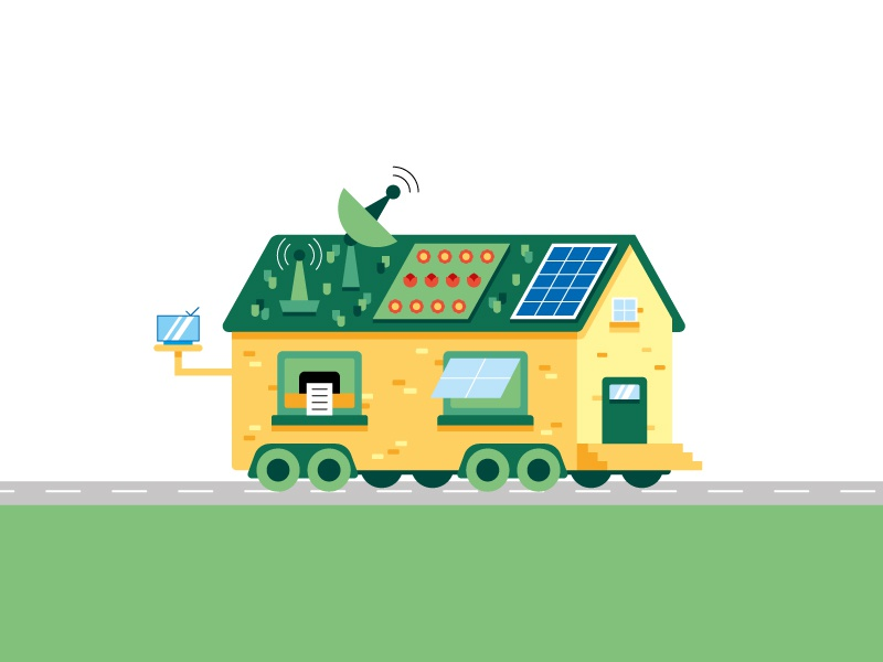 Green house eco house green color draw flat design illo illustration