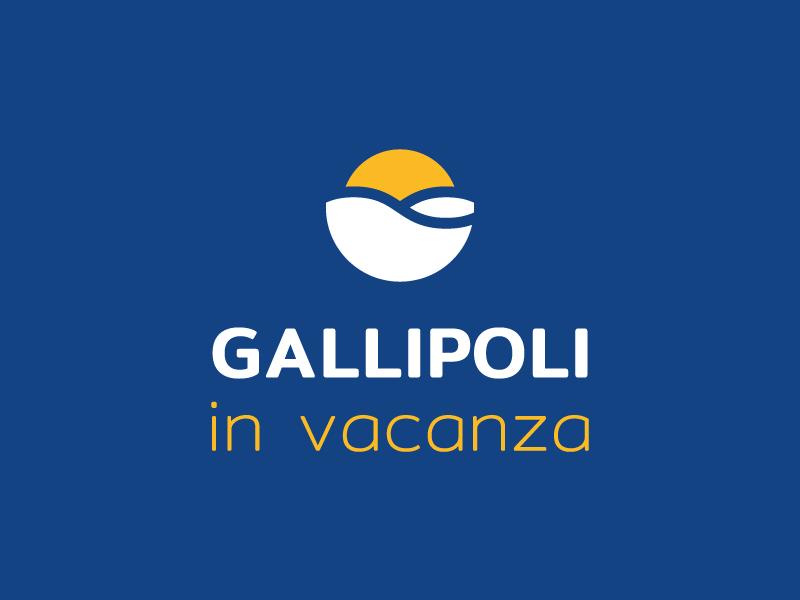 Gallipoli in vacanza Logo flat design wave vacation holiday blue yellow sun sea logo