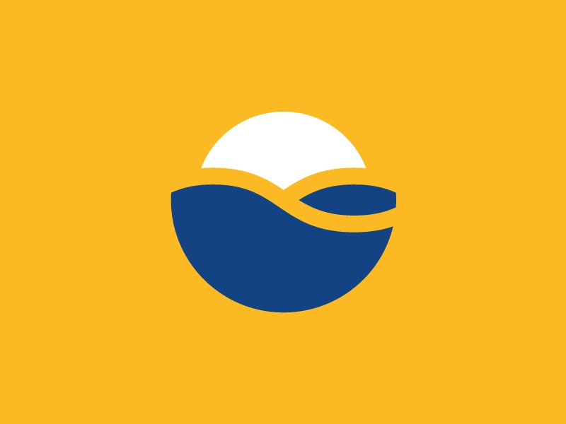 Gallipoli in vacanza Logo yellow wave vacation sun sea logo holiday flat design blue