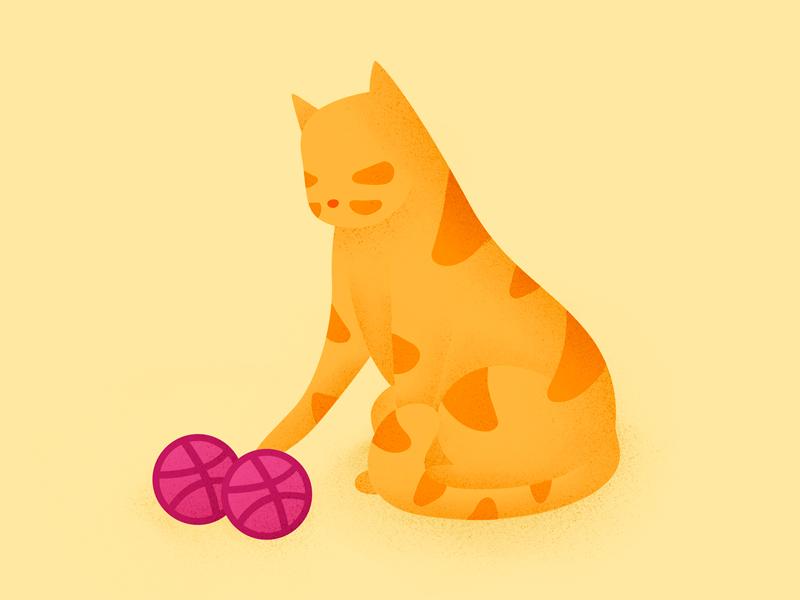 Two invites design play ball orange winner animal cat drawing illustration invitation invites invite