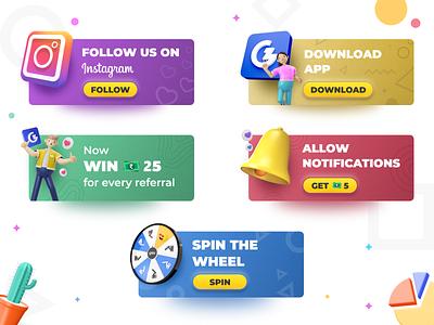 3D UI Cards cards design 3d modeling 3d ui 3d cinema4d blender3d gradients app design ui design illustration ui illustration ui cards 3d art