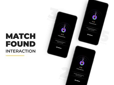 Player Match Found Interaction gaming app player match match searching match found interaction design app design ui animation ui illustration ui design