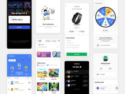 SkillClash Snapshots product page error state signup spin wheel profile leaderboard ui interaction mobile app ui design illustrations app design