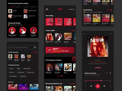 Gaana Redesign - Case Study dark mode light ui dark ui ux design ui design music player music app ui ux case study case study music app gaana