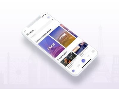 Travel App Concept Home Screen