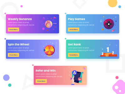 UI Card Elements gradient design prize rules gaming app app illustrations ui elements ui cards card design illustrations ui gradients gradients