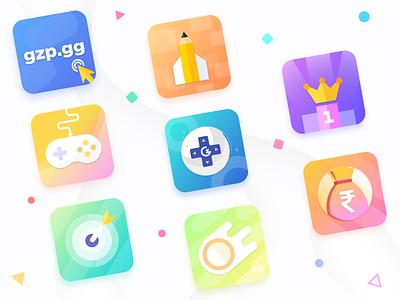 Colorful Icons Set icon illustration graphic design app icon design logo design gradient color gradient icons illustration colorful icons gradients app icons