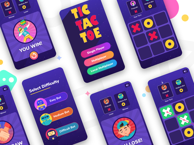 Tic Tac Toe game art ios game android game game app colorful design colorful app mobile ui mobile game app design tic tac toe game design