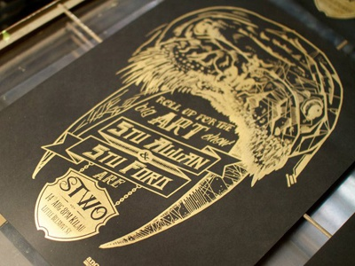 Gold & Black STWO Print screen print gold black real