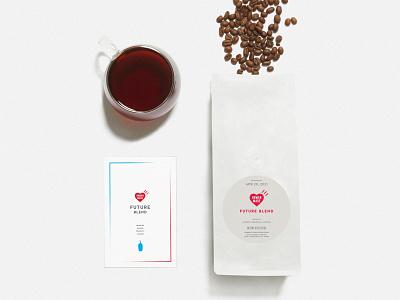 Future Blend coffee packaging branding design coffee bean flatlay collaboration human made nigo coffee blue bottle