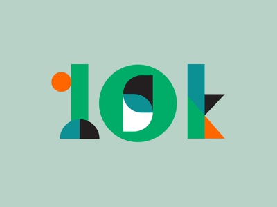 10k bauhaus abstract numbers vector icon color typography