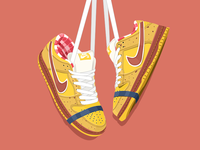 Nike Dunk SB Yellow Lobster Dunk painting