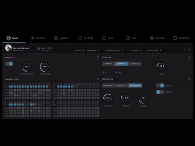 General menu – Thesis #2 haptic hybrid setup music mixing mixing console context-sensitive thesis hfg