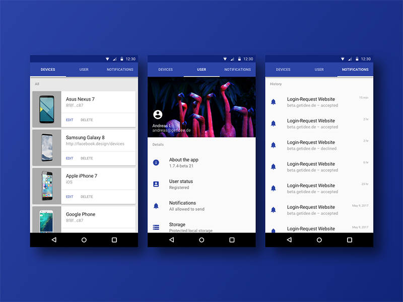 24h design quicky android cards lists sprint blue profile user notifications devices material design material