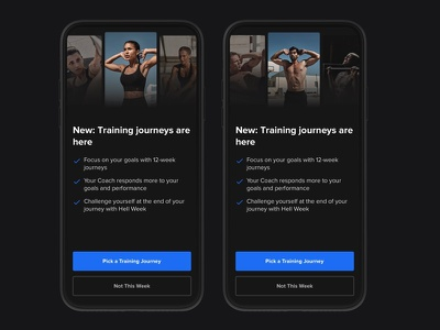 Transition Experience no excuses journey training training journeys freeletics modal user experience design interaction interface application mobile app opt-in transition experience ios mobile