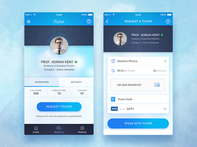 Conceptual Tutor App UI concept ux student instructor best shot training online learning ios education tutor