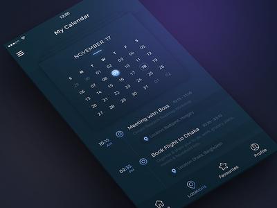 Conceptual Calendar App UI dark ui best shot task manager task minimal to-do list ios collaboration