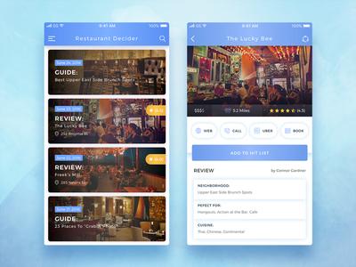 Conceptual Restaurant Decider App UI booking decider colourful find search restaurants modern trendy best shot cool concept conceptual