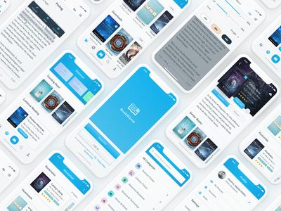 Bookworm Ebook Reader UI Kit sketch xd reading book ui kit mobile ios iphone x reader application app trendy modern