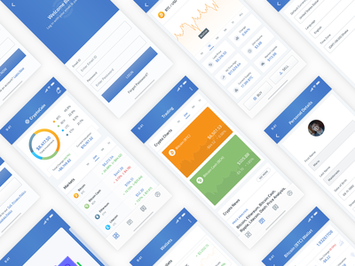 Cryptocoin Cryptocurrency UI Kit creative colorful trendy portfolio wallet ico coins sketch xd market ethereum bitcoin iphone x ui kit ios app design blockchain cryptocurrency concept best shot conceptual modern