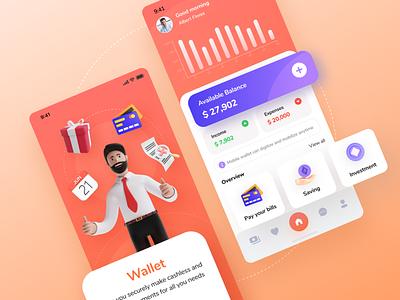 App wallet. minimal icon app logo ui branding mobile illustration clean design