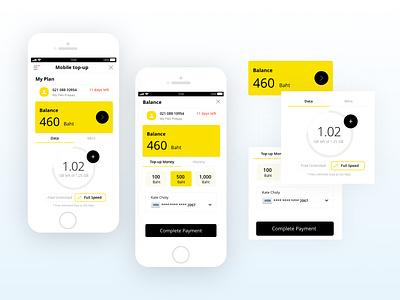 Minimal mobile top up clean flat ui ux app mobile illustration minimal design