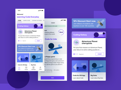 Learning Code App learning app violet ui vector typography minimal icon flat clean app design illustration