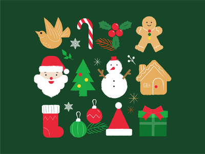 Merry Christmas character vector icon flat clean minimal illustration design