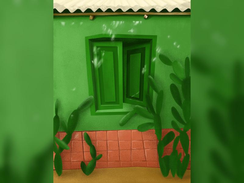spring light window green simple cactus drawing spring illustration