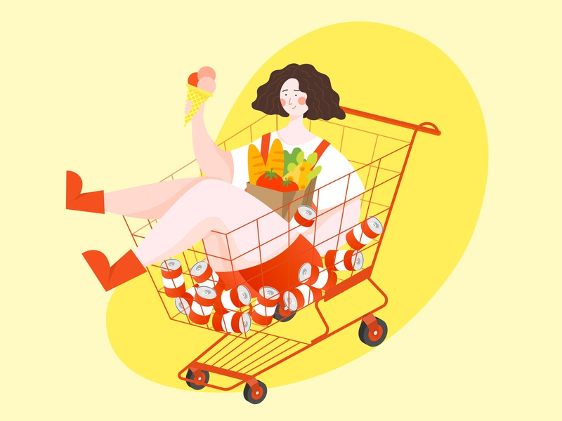 shopping cheese fruit food ice cream can shopping basket shopping cart shopping illustration design drawing