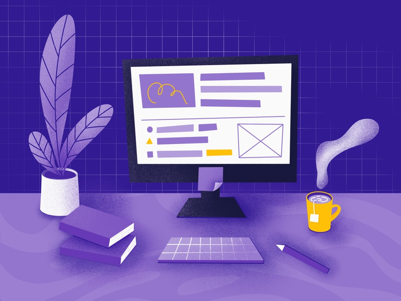 work pen book plant pc cup ui illustration design drawing