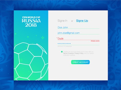 Daily UI 02 - Sign Up - worldcup game mail password name foot form site web design signin signup