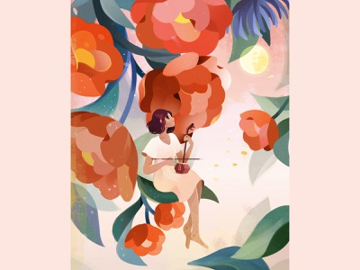 upon a bed of roses (for Adobe Capture) byalicelee mid-autumn festival magnolia roses flora florals moon character adobe photoshop illustration capture adobe