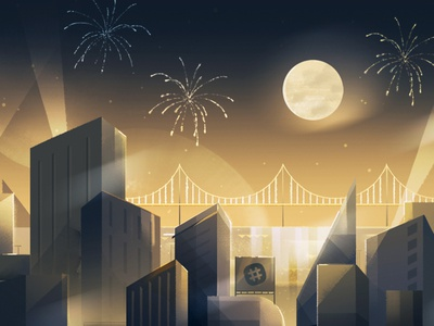 Slack Turns Two — Invite 01 painting cityscape gatsby party invite slack illustration