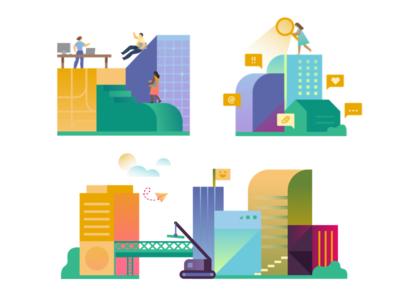 01 Slack — Enterprise Onboarding connect search messaging collaboration building product character onboarding slack illustration