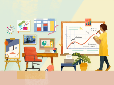 Slack Editorial — The benefits of side projects blog desk side projects character editorial slack illustration