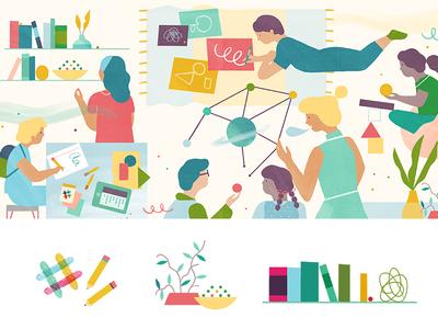 Slack Editorial — AltSchool (header & spots) altschool startup students school character editorial slack illustration