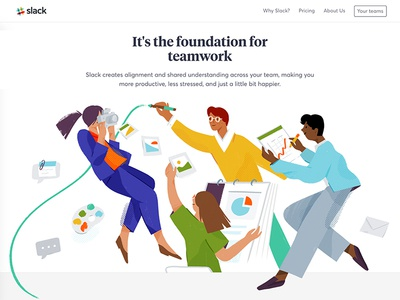 Slack.com redesign — Illustrations 01 features expressive documents characters teamwork collaboration slack landing page website illustration
