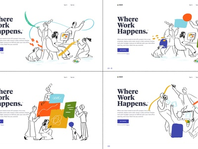 Slack.com redesign — Illustrations 01 features expressive documents characters teamwork collaboration slack landing page website illustration