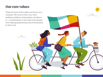 Slack.com redesign — Illustrations 02 features expressive tandem bike characters teamwork collaboration slack landing page website illustration