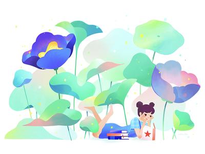 Macy's Flower Show 01 reading character flowers flower shop macys retail illustration