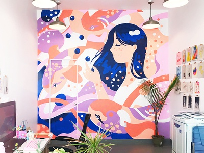 Making murals, looking for walls! whimsical surreal installation fish character mural