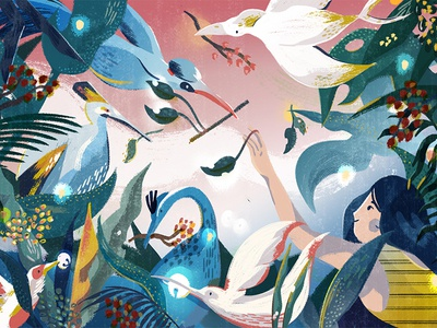 Today at Apple screen illustration retail character birds apple mural